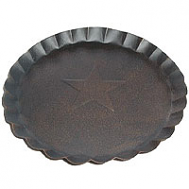 7.5 Inch Tin Plates With Scalloped Edge Gray