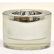 3.25 Inch Round Glass Tea Light Holder Silver