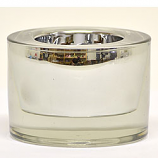3.25 Inch Round Glass Tea Light Holder Silver