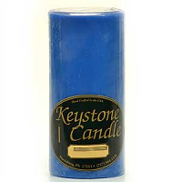 3 x 6 Blue Christmas Pillar Candles