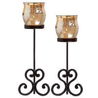 Brandy Votive Holder Champagne Set of 2