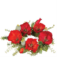 Poppy 6.5 Inch Candle Ring Red