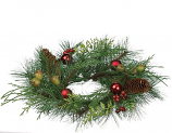 Pine and Mixed Ornaments 4.5 Inch Candle Ring