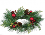 Pine and Mixed Ornaments 6.5 Inch Candle Ring