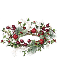 Pine Berry Bells 6.5 Inch Candle Ring