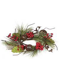 Pine Bells and Berries 4.5 Inch Candle Ring