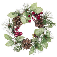 Mixed Pine Berries and Cones 4.5 Inch Candle Ring
