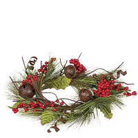 Pine Bells and Berries 6.5 Inch Candle Ring