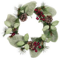 Mixed Pine Berries and Cones 6.5 Inch Candle Ring