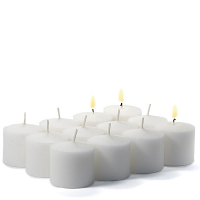 72 Pack White Unscented Votive Candles Bulk 10hr