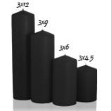 Black 3 x 4 Unscented Pillar Candles