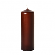 Brown 3 x 9 Unscented Pillar Candles