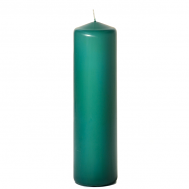 Forest green 3 x 12 Unscented Pillar Candles