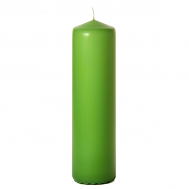 Lime green 3 x 12 Unscented Pillar Candles
