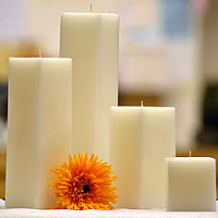 9 Inch Tall White Square Pillar Candles