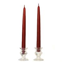 8 Inch Burgundy Taper Candles Dozen