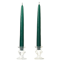 8 Inch Hunter Green Taper Candles Dozen