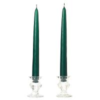 10 Inch Hunter Green Taper Candles Dozen