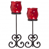 Brandy Votive Holder Red Set of 2