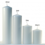 White 3 x 9 Unscented Pillar Candles