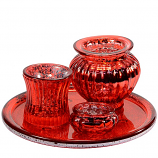Red Candle Holder 4 Piece Set