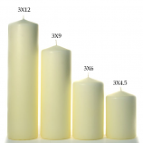 Ivory 3 x 12 Unscented Pillar Candles