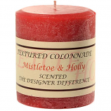 Rustic Mistletoe and Holly 3 x 3 Pillar Candles