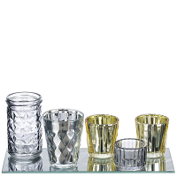 Metallic Votive Cups and Mirror 11 Inch