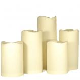 5pc. Outdoor LED Pillar Candle Set