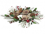 Flower Pine Bell Candle Ring Red 6 Inch