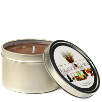 8 oz Leather Pipe and Woods Candle Tins