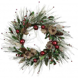 Flower Pine Bell Wreath Red 22 Inch