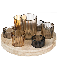 Round Wooden Votive Tray 8 Piece Set